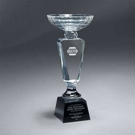 GM620A - Faceted Crystal Cup on Black Crystal Base - Medium  (Includes Sandblast in 2 Locations and Silver Color-Fill on Base)