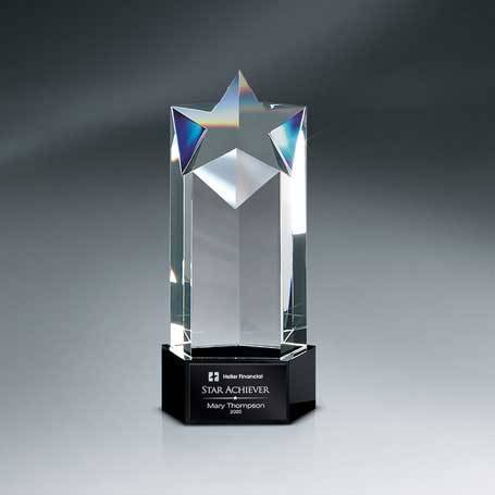 GM623 - Optic Crystal Star Tower Award with Black Lasered Plate