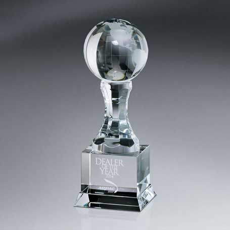 GM632B - Optic Crystal Globe on Pedestal with Base - Large