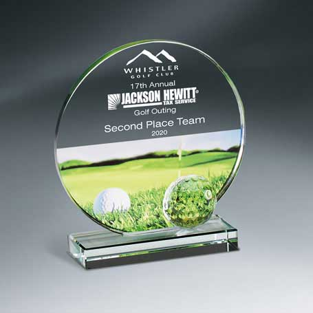 GM670A - Golf Imprint Glass Circle on Clear Base - Small