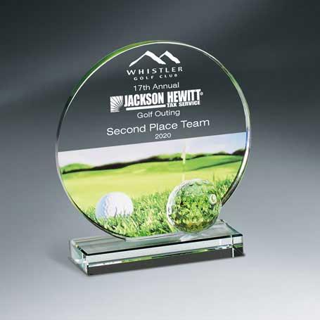 GM670B - Golf Imprint Glass Circle on Clear Base - Medium