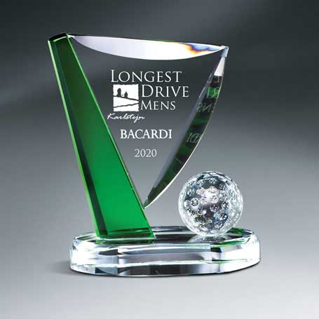 GM671B - Crystal Golf Ball and Green Accented Pin on Clear Base - Medium