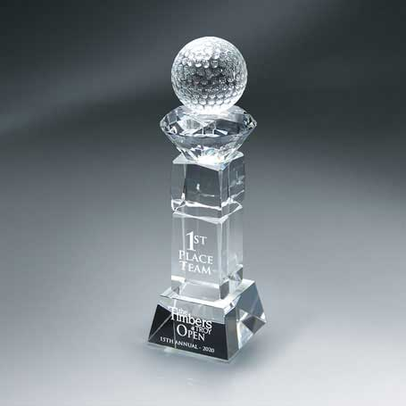 GM674A - Crystal Golf Ball and Diamond on Pillar with Base - Small  (Includes Sandblast on Pillar and Base)
