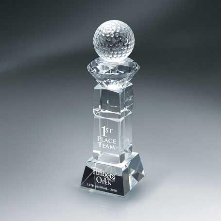 GM674C - Crystal Golf Ball and Diamond on Pillar with Base - Large  (Includes Sandblast on Pillar and Base)