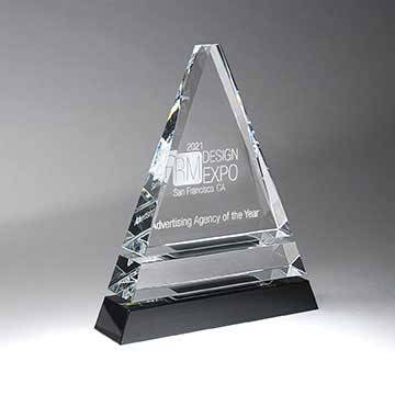GM718B - Clear Optic Crystal Tiered Pyramid on Black Base - Medium