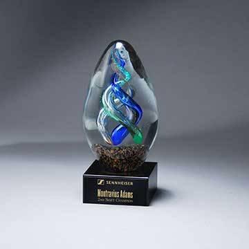 GM721 - Double Helix Art Glass Egg on Base