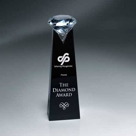 GNS107 - Black Crystal Tower with Clear Diamond(Includes Silver Color-Fill on Tower)