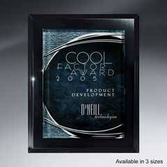 Ebony Finish Plaque with Shimmering Silver Lunar Lucite
