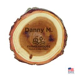 Elmwood Log Circular Name Bar Comes with Magnet Not Attached
