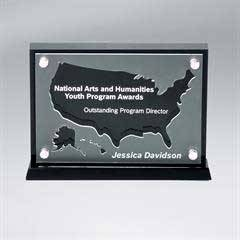 Frosted Lucite Cutout on Risers Award  with Choice of State or Special Stock Shape
