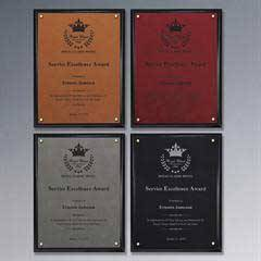 Classic Leatherette on Black Plaque - Small