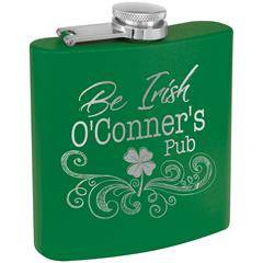 6 oz Powder Coated Green Stainless Steel Lasered Flask