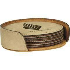 Leatherette Round 6-Coaster Set
