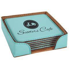 Leatherette Square 6-Coaster Set