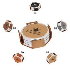 Leatherette Metallic Edge Round 4-Coaster Set
