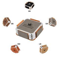 Leatherette Metallic Edge Square 4-Coaster Set