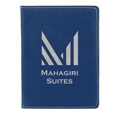 Leatherette Passport Holder , Blue/Silver