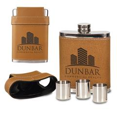 Leatherette Flask With shot Glasses