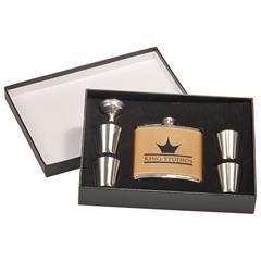 Leatherette Flask Gift Set