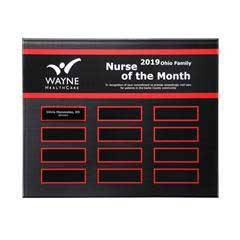 Crimson Border Beveled Lucite 12-Plt Plaque with Easy Perpetual Plate Release Program