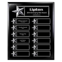 Gold on Walnut Finish or Silver on Ebony Finish  12-Plt Star Border Plaque  with Easy Perpetual Plate Release Program