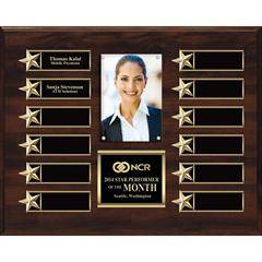 Gold on Walnut Finish or Silver on Ebony Finish  12-Plt Star Border Photo Plaque  with Easy Perpetual Plate Release Program