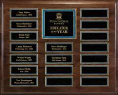 Genuine Walnut 18-Plate Pearl or Blue Border Plaque  with Easy Perpetual Plate Release Program