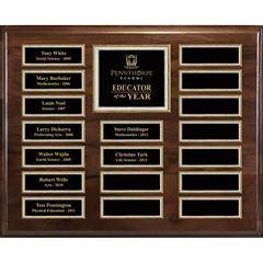 Genuine Walnut 18-Plt Magnetic Pearl or Blue Border Plaque  with Easy Perpetual Plt Release Program