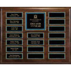 Genuine Walnut 48-Plate Pearl or Blue Border Plaque  with Easy Perpetual Plate Release Program
