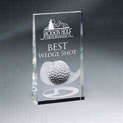Optic Crystal Wedge with Golf Ball and Etched Club Design