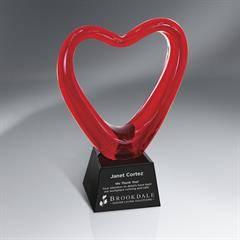 Red Art Glass Heart on Black Glass Base