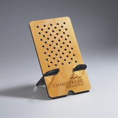 Rectangle Alder Wood Phone Holder with Diamond Cut-Outs