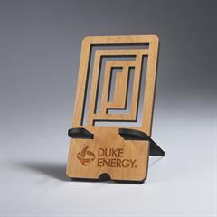 Rectangle Alder Wood Phone Holder with Maze Cut-Out Design