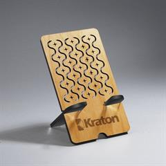 Rectangle Alder Wood Phone Holder with Textile Cut-Out Design