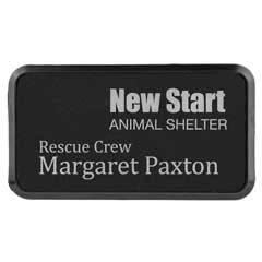 Leatherette Rectangle Name Badge W/ Holder & Magnet