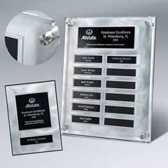 "Raised Lucite Silver Swirl 12-Plt Plaque  with Easy Perpetual Plate Release Program and 12 Individual 5"" x 7"" Companion Plaques"