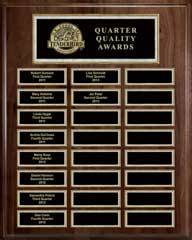 Genuine Walnut 24-Plate Pearl or Blue Border Plaque  with Easy Perpetual Plate Release Program